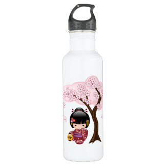 Sakura Kokeshi Doll - Geisha Girl on Peach 710 Ml Water Bottle