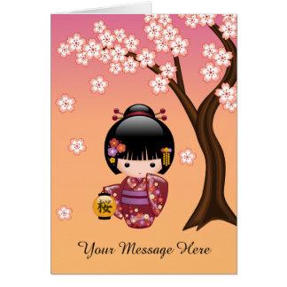 Sakura Kokeshi Doll - Geisha Girl on Peach Card