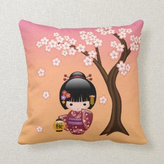 Sakura Kokeshi Doll - Geisha Girl on Peach Cushion