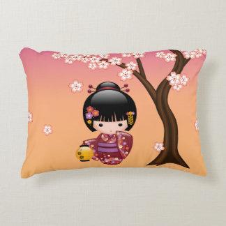 Sakura Kokeshi Doll - Geisha Girl on Peach Decorative Cushion
