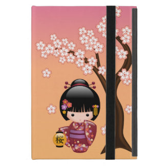 Sakura Kokeshi Doll - Geisha Girl on Peach iPad Mini Case