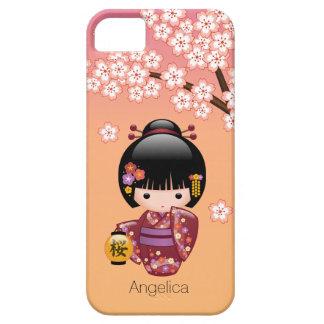 Sakura Kokeshi Doll - Geisha Girl on Peach iPhone 5 Cases