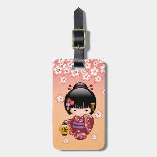Sakura Kokeshi Doll - Geisha Girl on Peach Luggage Tag