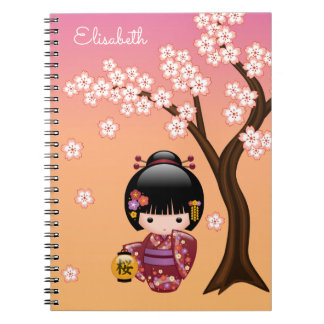 Sakura Kokeshi Doll - Geisha Girl on Peach Notebook