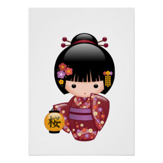 Sakura Kokeshi Doll - Geisha Girl on Peach Poster