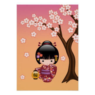 Sakura Kokeshi Doll - Geisha Girl on Peach Poster