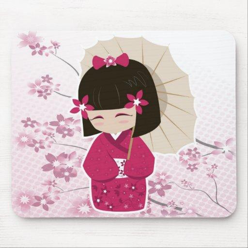 Sakura Kokeshi Doll Mouse Pad