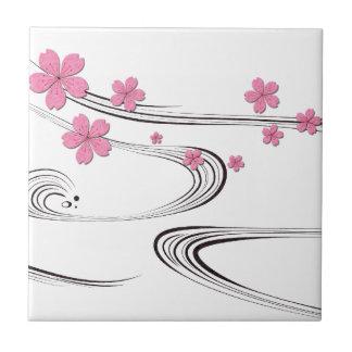 Sakura over river - Japanese Design Small Square Tile