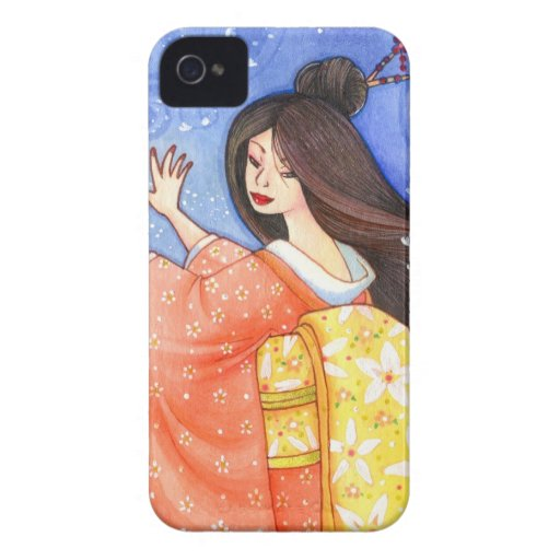 Sakura Shower Geisha Art Blackberry Case