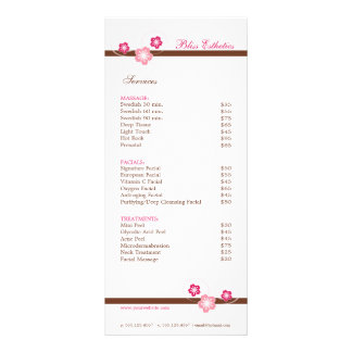 Sakura Spa Menu Template - Double Sided
