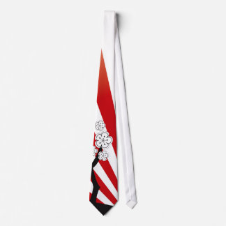 Sakura Sunrise White Cherry Blossoms Flowers Zen Tie