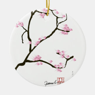 sakura tree and birds tony fernandes ceramic ornament