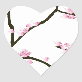sakura tree and birds tony fernandes heart sticker