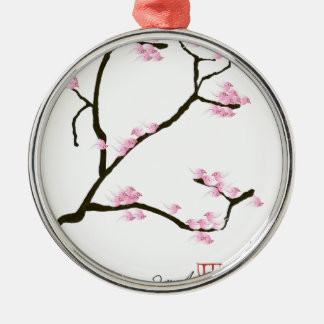 sakura tree and birds tony fernandes metal ornament