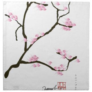sakura tree and birds tony fernandes napkin
