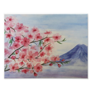 Sakura tree blossom and Fuji mountain Photo Print