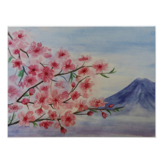 Sakura tree blossom and Fuji mountain Poster