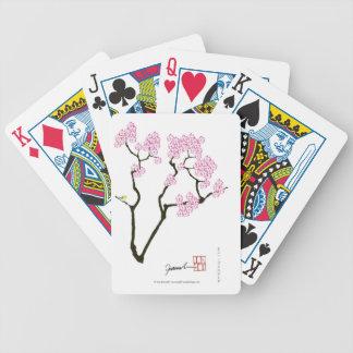 sakura with green bird, tony fernandes bicycle playing cards