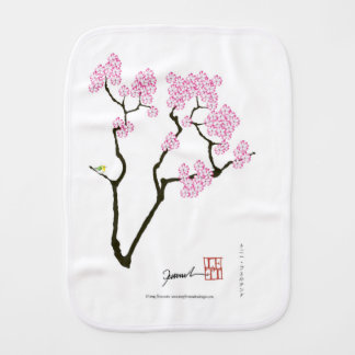 sakura with green bird, tony fernandes burp cloth
