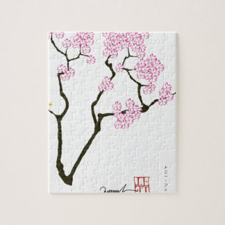sakura with green bird, tony fernandes jigsaw puzzle