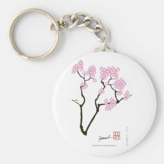 sakura with green bird, tony fernandes key ring