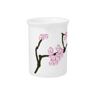 sakura with green bird, tony fernandes pitcher