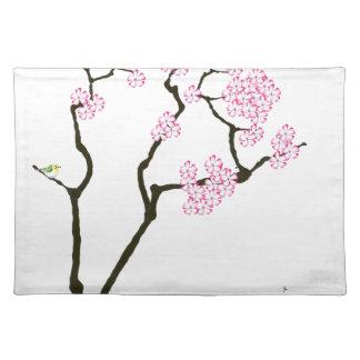 sakura with green bird, tony fernandes placemat