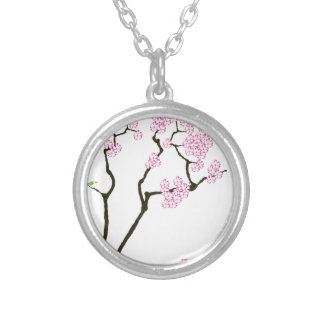 sakura with green bird, tony fernandes silver plated necklace
