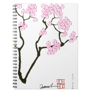 sakura with green bird, tony fernandes spiral notebook