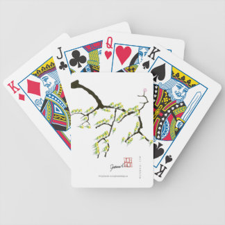 sakura with green birds, tony fernandes bicycle playing cards