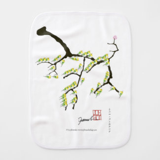 sakura with green birds, tony fernandes burp cloth