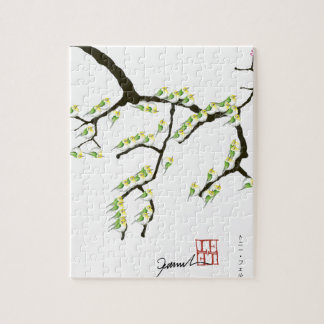 sakura with green birds, tony fernandes jigsaw puzzle
