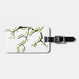 sakura with green birds, tony fernandes luggage tag