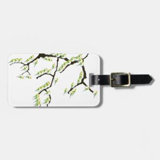 sakura with green birds, tony fernandes luggage tag