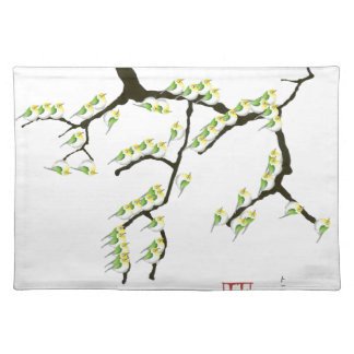 sakura with green birds, tony fernandes placemat