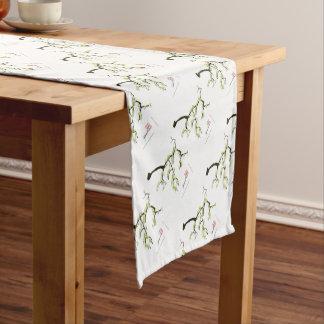 sakura with green birds, tony fernandes short table runner