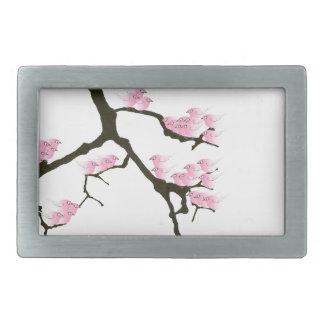 sakura with pink birds by tony fernandes belt buckles