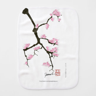 sakura with pink birds by tony fernandes burp cloth