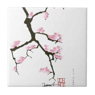 sakura with pink birds by tony fernandes ceramic tile
