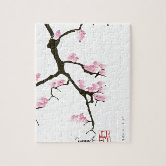 sakura with pink birds by tony fernandes jigsaw puzzle
