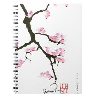 sakura with pink birds by tony fernandes spiral notebook