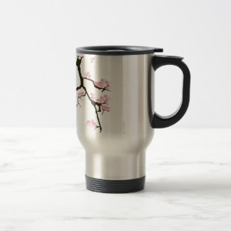 sakura with pink birds by tony fernandes travel mug