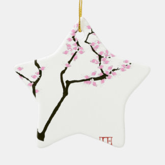 sakura with pink goldfish, tony fernandes ceramic ornament