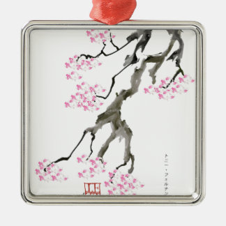 sakura with pink goldfish, tony fernandes metal ornament