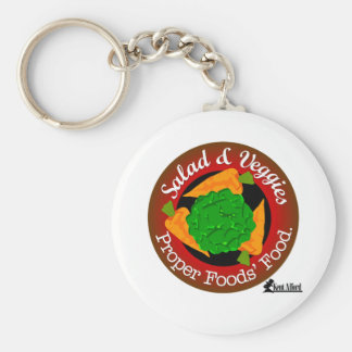Salad and Vegetables vs Meat Basic Round Button Key Ring
