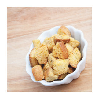 Salad Croutons in a bowl Gallery Wrapped Canvas