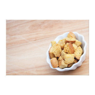Salad Croutons in a bowl Stretched Canvas Print