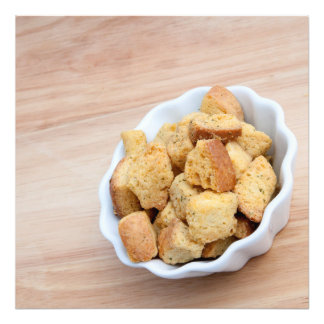Salad Croutons in a bowl Photographic Print