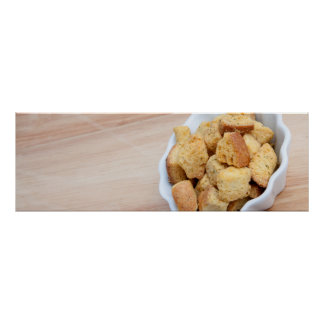 Salad Croutons in a bowl Print