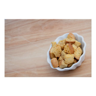 Salad Croutons in a bowl Poster